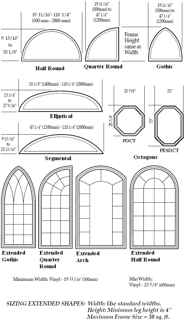 Windows door sizes shapes golden windows for Window shapes and sizes